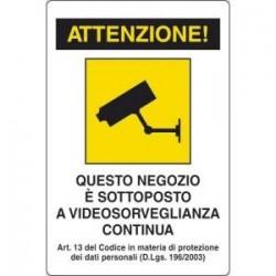 Cartello PVC Area sottoposta a videosorveglianza