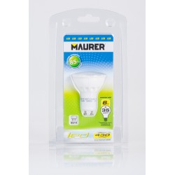Faretto  Maurer GU10 6W  220-240V led  luminosità 430 lume, luce bianca calda