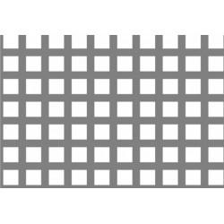 Lamiera forata in fe (acciaio comune) dalle dimensioni 100x200cm, spessore 1,5mm, foro quadro 10x10mm, passo 15mm a 90°