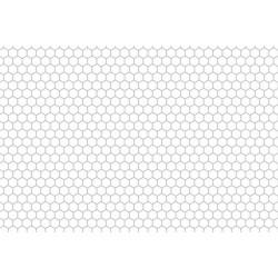 Lamiera forata in fe (acciaio comune) dalle dimensioni 50x50cm, spessore 1,5mm, foro esagonale 6mm, passo 6,7mm a 60°